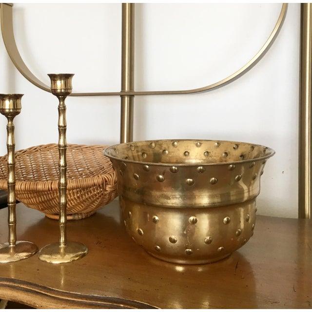 Vintage Hobnail Brass Planter - Image 3 of 6