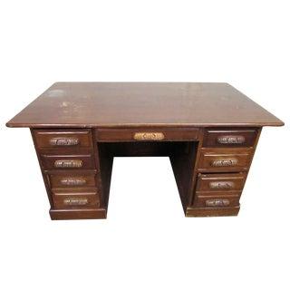 Antique Carved Handle Wooden Desk