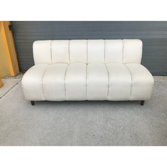 Bernhardt Flair Mid-Century White Ribbed Sofa - Image 2 of 5
