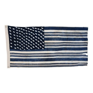 Vintage African Fabric Custom Tailored Blue & White Flag