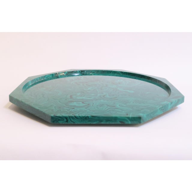 Image of Plastic Malachite Lazy Susan Tray
