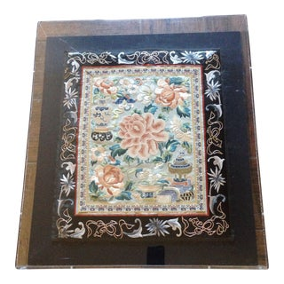 "Antique Chinese Framed ""Forbidden Stitch"" Still Life Textile"