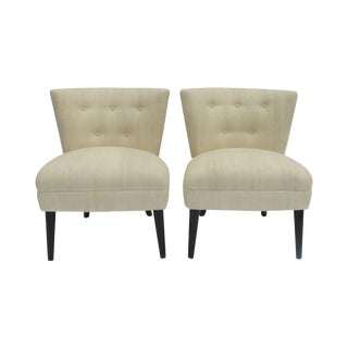 Kroehler Raw Silk Side Chairs - Pair