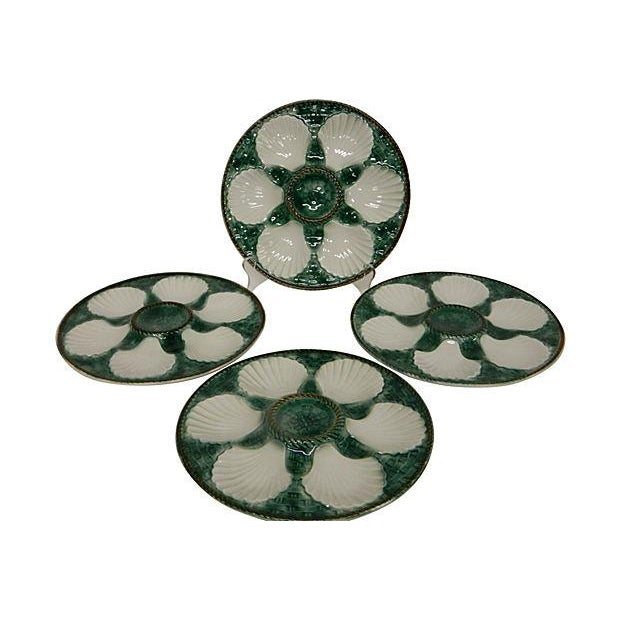 Image of Vintage French Longchamps Oyster Plates - Set of 4