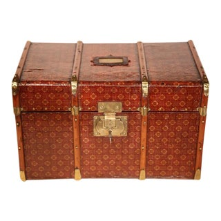 French Wooden Decorative Leather & Brass Box