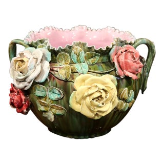 19th Century French Barbotine Cachepot with Hand-Painted Flowers and Leaves