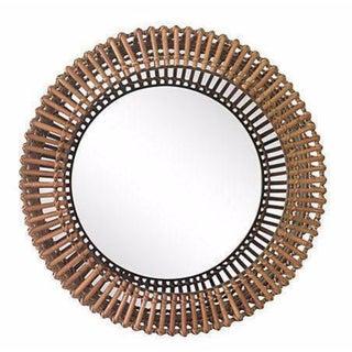 Rattan Albini-Style Round Mirror