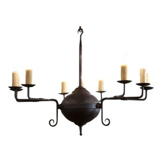 "Custom Hand-Forged Iron ""Mercer"" Chandelier with Nine Lights"