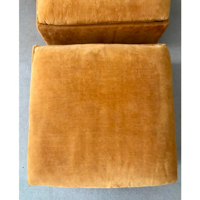 Vintage Mid-Century Orange Velvet Ottomans - A Pair - Image 8 of 10
