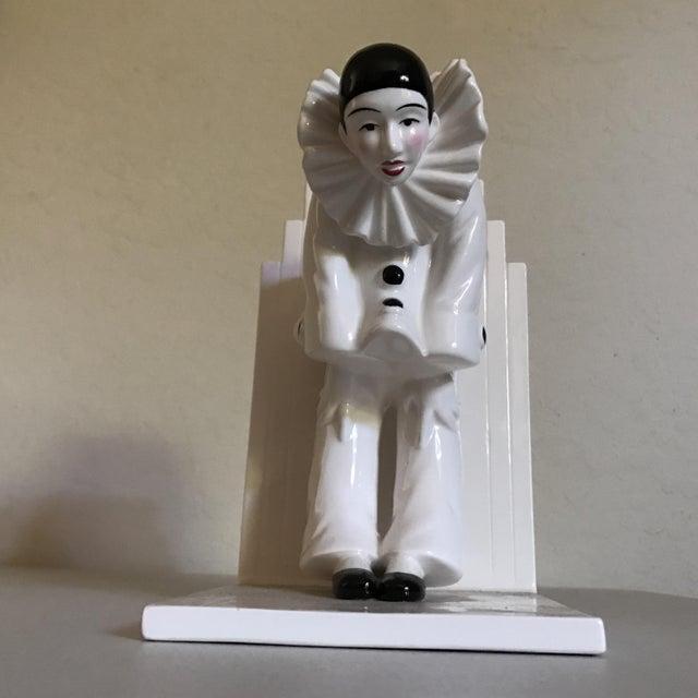 Image of Vintage Tastesetter Ceramic Pierrot Bookends - A Pair