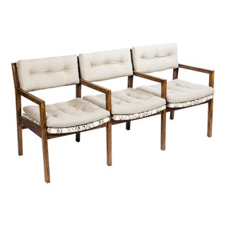Mid-Century Triple Chair Bench