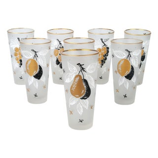 Vintage Frosted Gold Sangria Tumblers - Set of 8