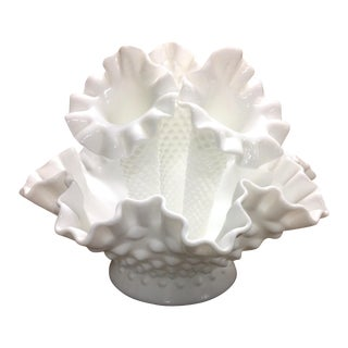 Bright White Mid Century Hobnail Glass Epergne