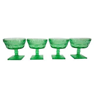 Vintage Green Champagne Coupes Sherbert Glasses - Set of 4