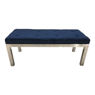 Milo Baughman Tufted Velvet and Chromed Steel Bench