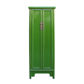 Chinese Oriental Simple Slim Narrow Bright Lime Green Tall Cabinet