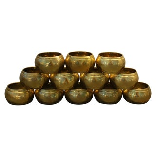Vintage Brass Napkin Rings - Set of 12