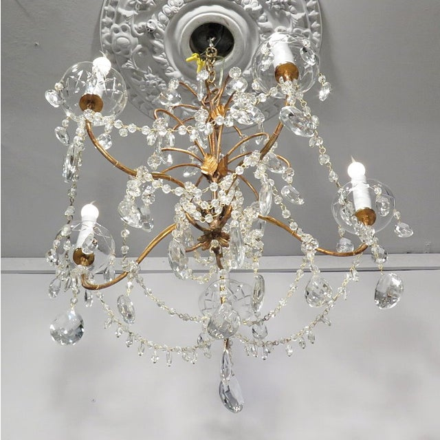 Vintage Chandelier Gold Fixture Dripping Crystals - Image 4 of 6