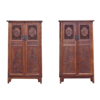 Huali Rosewood Noodle Cabinets - A Pair