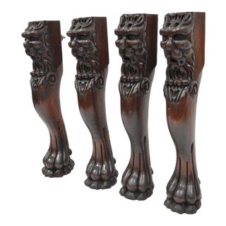 "Antique Empire 20"" Mahogany Figural Lion Paw Feet Table Legs - Set of 4"