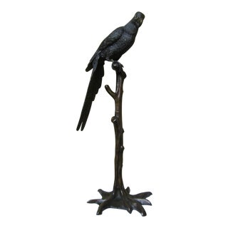 Large Parrot on Branch Bronze Sculpture