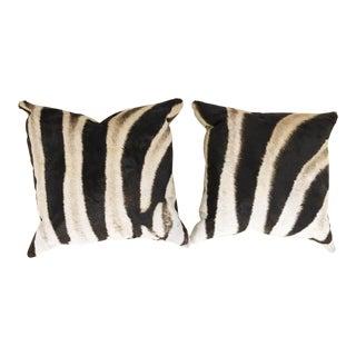 Zebra Hide Pillows - a Pair