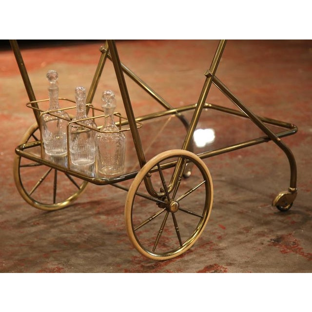 Mid-20th Century French Brass Cart With Removable Upper Tray - Image 5 of 10