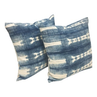 Vintage African Indigo Mud Cloth Pillows - A Pair