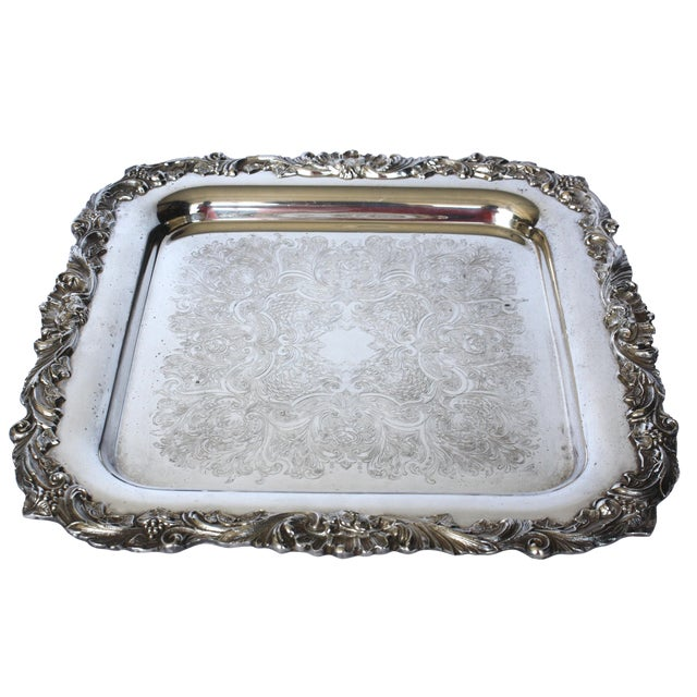 Footed Square Silver Tray - Image 1 of 5