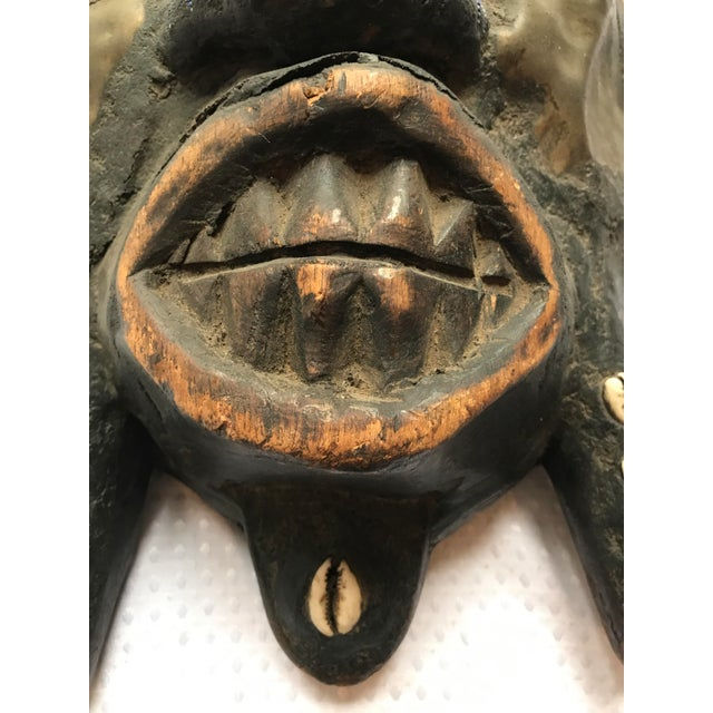 Large Metal Beads & Shells African Wooden Mask - Image 4 of 11