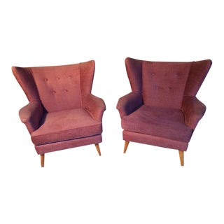 Mid-Century Modern Raspberry Armchairs - A Pair