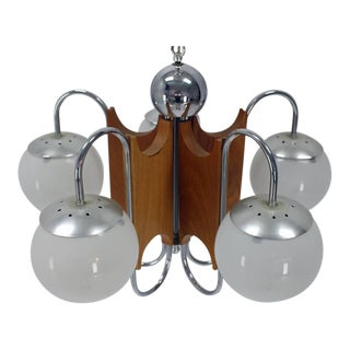 Five-Globe Shades Mid-Century Modern Light Fixture Chandelier