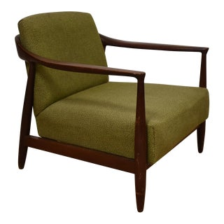 Mid-Century Modern Mahogany Green Lounge Chair