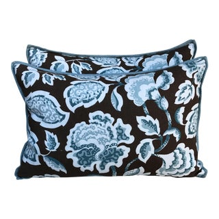 Brown & Blue Foral Pillows - a Pair