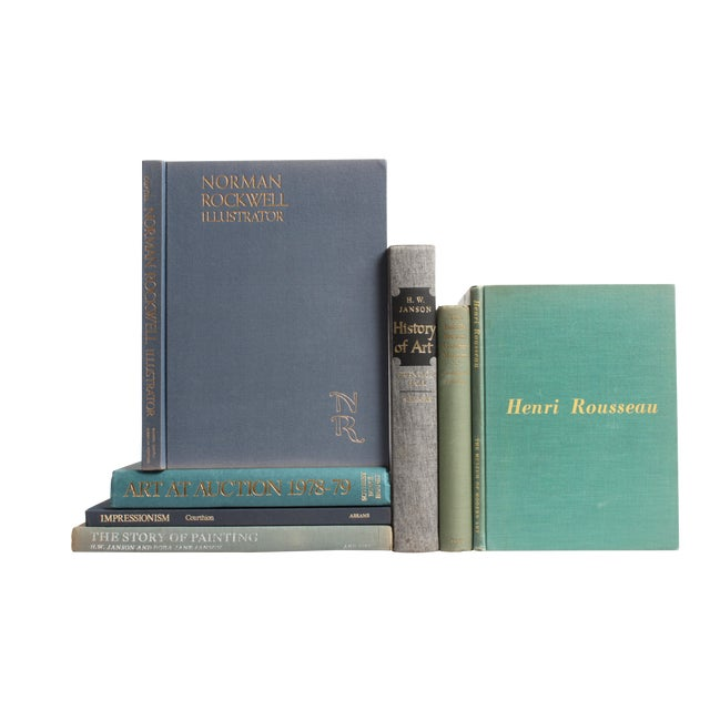 Image of Vintage Blue and Green Art Books - Set of 7