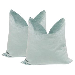 "22"" Seafoam Luxe Velvet Pillows - a Pair"