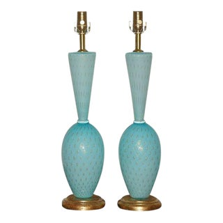 Blue and Gold Vintage Murano Lamps
