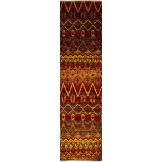 "Ikat Hand Knotted Runner Rug - 2' 6"" X 10' 4"""