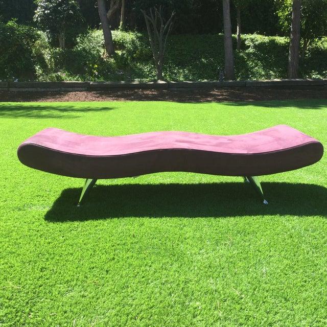 Custom Purple Mid Century Modern Bench - Image 3 of 3
