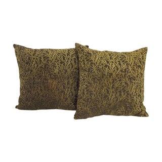 Green Velvet Coral Motif Pillows - A Pair