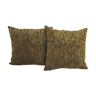 Green Velvet Coral Motif Pillows - A Pair