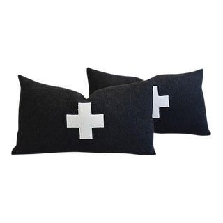 """24"""" X 14"""" Custom Tailored Charcoal Appliqué Cross Wool Feather/Down Pillows - Pair"""