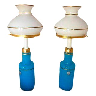 Italian Turquoise Cendelese Lamps - A Pair