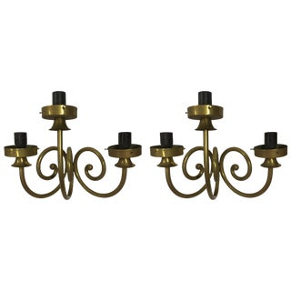 Pair of Three Arm Gold Sconces