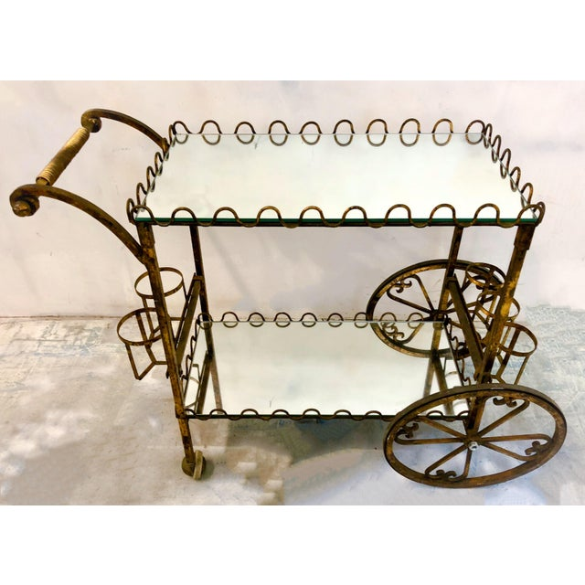 Hollywood Regency Italian Gilt Metal Bar Cart - Image 3 of 6