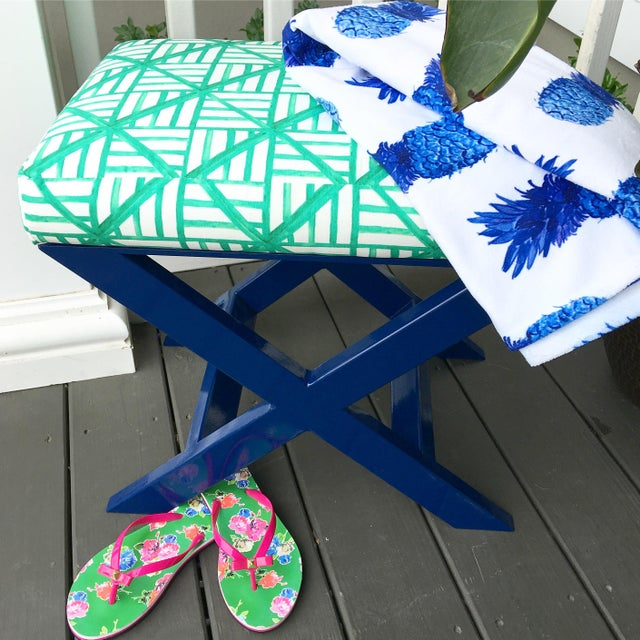 Taylor Burke Home Navy X Brooke Wright Designs Bench - Image 3 of 3