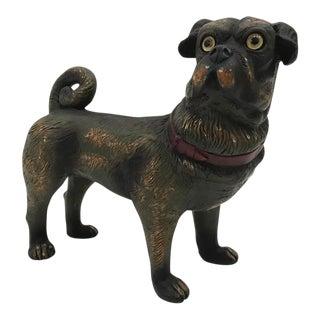 Vintage Painted Ceramic Pug Dog