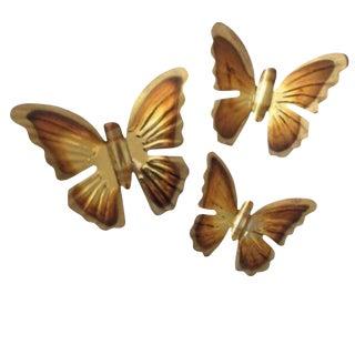 1970's Brass Hanging Butterflies - Set of 3