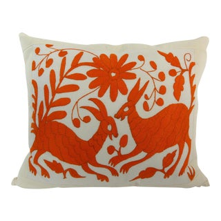 Handmade Long Stitch Embroidered Orange Rabbits Pillow