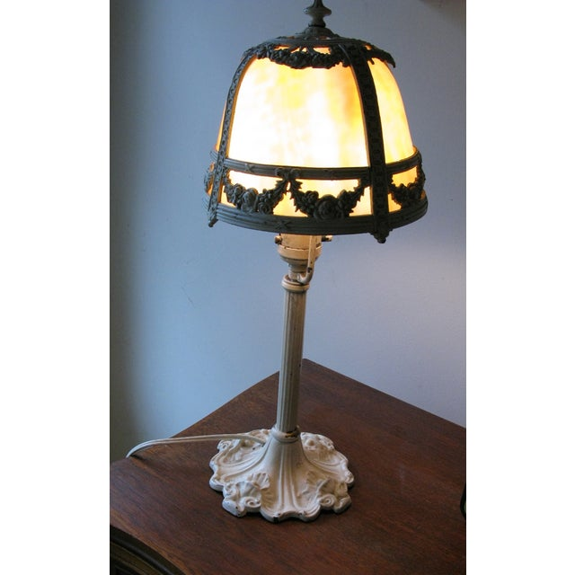 Cream Iron and Brass Slag Glass Lamp - Image 2 of 8